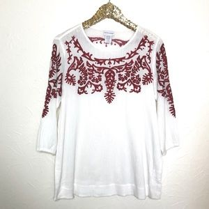 Soft Surroundings Red Embroidered Top